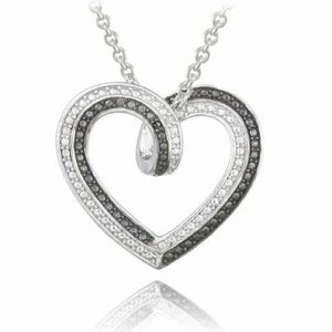 NWOT Reversible Diamond Two Tone Heart Necklace